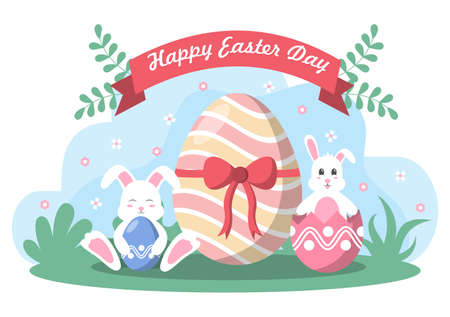Happy Easter Day Flat Design Illustration Background for Poster, Invitation, and Greeting Card. Rabbit and Eggs Concept. Ilustração