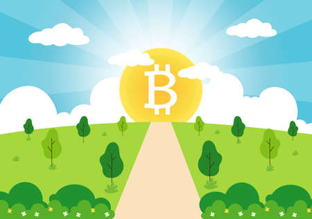 Cryptocurrency Illustration Flat Design with Businessman Miners and Coins. for Financial Technology, Blockchain, and Data Analysis Concept Ilustração
