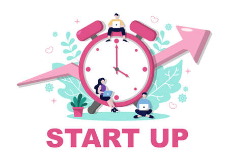 Startup Flat Illustration of business Development process, Innovation product, and creative idea.