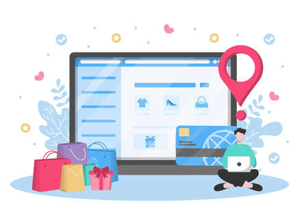 Young Girl Relaxing at Home and Using Laptop Online Shopping Flat Design for Website Landing Page, Marketing Elements, or E-commerce Illustration, Web Banner, and Digital Payment Ilustração
