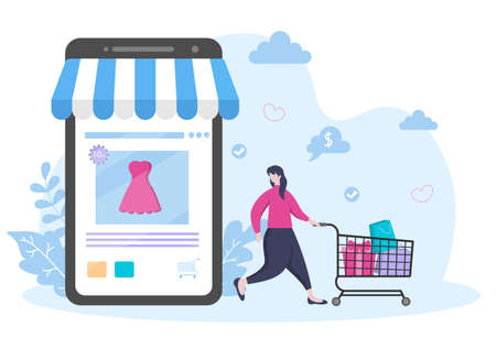 A girl Orders From Smartphone Online Shopping Flat Design for Website Landing Page, Marketing Elements, or E-commerce Illustration, Web Banner, and Digital Payment