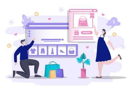 Online Shopping Flat Design for Website Landing Page, Marketing Elements, or E-commerce Illustration, Web Banner, and Digital Payment