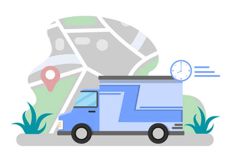 Flat Illustration of Online Delivery for Order Tracking, Courier Service, Goods Shipping, City Logistics using a Motorcycle and Truck