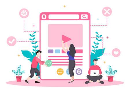Web Development Flat Illustrations for Websites, Programming, Mobile Applications, Marketing Materials, Business Presentations, and Online Advertising Ilustração