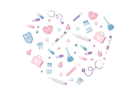 Healthcare and Medical Equipment Icons in Form of Heart Illustration Pack of Thanksgiving To All Medical Assistants For Fighting with virus and Saving Lots of Lives Design