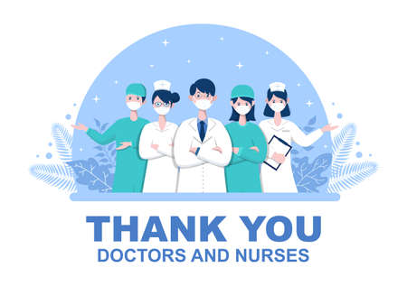 Thank You Doctor and Nurse, Illustration Pack of Thanksgiving To All Medical Assistants For Fighting with Coronavirus and Saving Lots of Lives Design