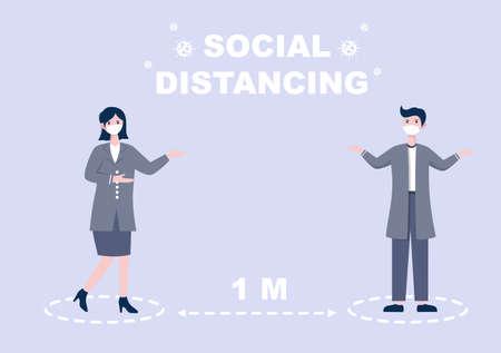 People Who Wear Masks and Maintain a Minimum Social Distancing of 1 Meter to Prevent Coronavirus Disease, Vector Illustration Ilustração Vetorial