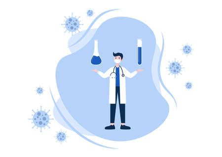 Vector Illustration Healthcare Medical People Of Protecting And Fighting Against The Corona Virus Concept