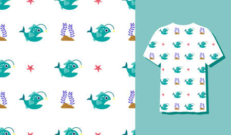 Cute Character Fish Animal Seamless Patterns Can Be Used as Designs On Clothes, Wallpapers, Backgrounds. Vector Illustration 矢量图像