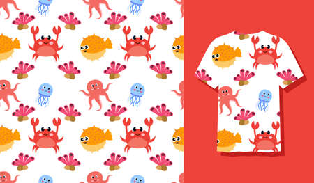 Cute Character Crab Animal Seamless Patterns Can Be Used as Designs On Clothes, Wallpapers, Backgrounds. Vector Illustration