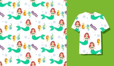 Seamless Patterns Underwater Mermaid Vector Illustration Cute Sea Animals Cartoon Characters Along with Fish, Turtle, Octopus, Seahorse, Crab 矢量图像