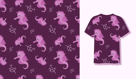Cute Character Seahorses Animal Seamless Patterns Can Be Used as Designs On Clothes, Wallpapers, Backgrounds. Vector Illustration