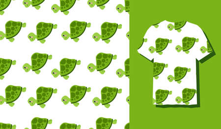 Cute Character Turtle Animal Seamless Patterns Can Be Used as Designs On Clothes, Wallpapers, Backgrounds. Vector Illustration 矢量图像