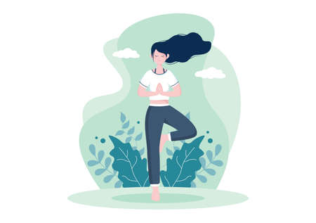 Yoga or Meditation Practices Aim for Health Benefits of the Body to Control Thoughts, Emotions, Inception and Searching for Ideas. Flat Design Vector Illustration