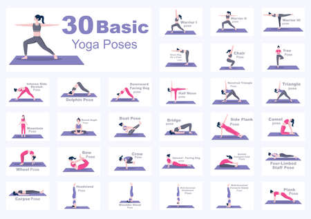 Set Of Various Yoga Poses and Fitness Exercises With Relax, Meditate, Healthy Lifestyle, Balance Training. Illustration