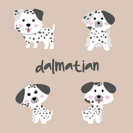 Set Character Animal In Various Poses Of Cute Dalmatian Dog Is Sitting, Sleep, and Jumping. Vector Illustration