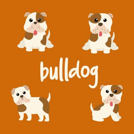 Set Character Animal In Various Poses Of Cute Bulldog Dog Is Sitting, Sleep, and Jumping. Vector Illustration