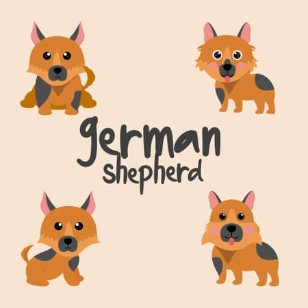 Set Character Animal In Various Poses Of Cute German Shepherd Dog Is Sitting, Sleep, and Jumping. Vector Illustration