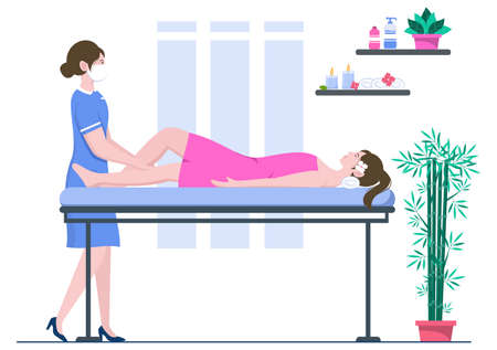 Massage Vector Illustration In Beauty Salon, Body Spa, Relaxation, Facial Essential And Skincare. Flat Design