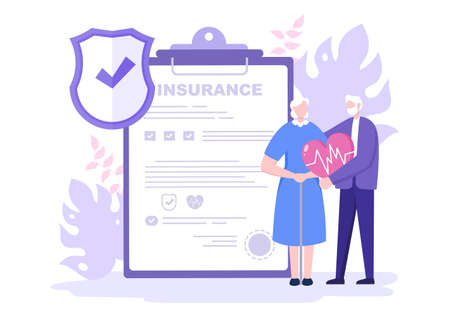 Elderly Insurance Illustration is Used For Pension Funds, Old-Age Guarantee, Health, Risks and Money Protection Concept