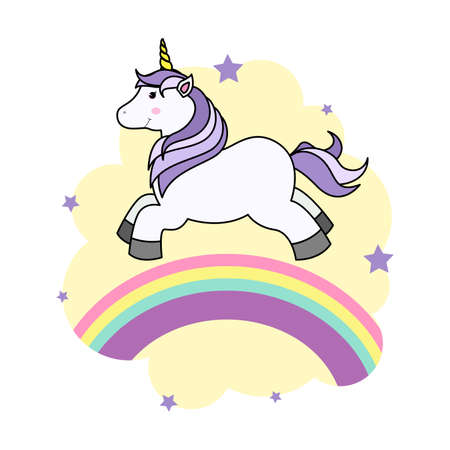 Cute Cartoon Unicorn on Cloud and Rainbow For Print T-shirt or Sticker, Wallpaper Background and Hand Drawing Illustration For Children Illustration