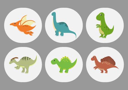 Cute Dinosaurs Cartoon Characters Illustration as Spinosaurus, Parasaurolophus, Stegosaurus, Tyrannosaurus, Pterodactyl, and Diplodocus. Wallpaper Background Template