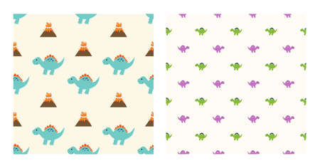 Cute Cartoon Characters Stegosaurus Dinosaurs With Seamless Pattern To Wallpaper Background, Posters, or Banner Template. Vector Illustration Illustration