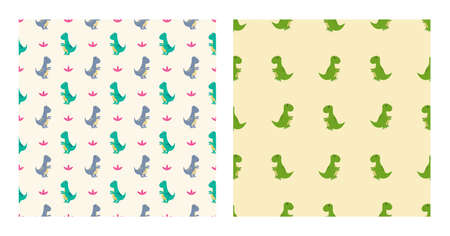 Cute Cartoon Characters Tyrannosaurus Dinosaurs With Seamless Pattern To Wallpaper Background, Posters, or Banner Template. Vector Illustration