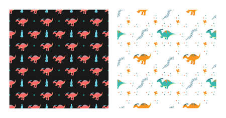 Cute Cartoon Characters Parasaurolophus Dinosaurs With Seamless Pattern To Wallpaper Background, Posters, or Banner Template. Vector Illustration