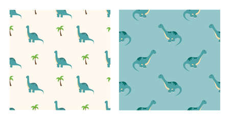 Cute Cartoon Characters Diplodocus Dinosaurs With Seamless Pattern To Wallpaper Background, Posters, or Banner Template. Vector Illustration