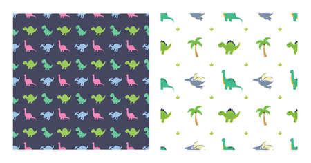 Cute Cartoon Dinosaurs Seamless Pattern as Spinosaurus, Parasaurolophus, Stegosaurus, Tyrannosaurus, Pterodactyl, and Diplodocus To Wallpaper Background or Posters. Illustration