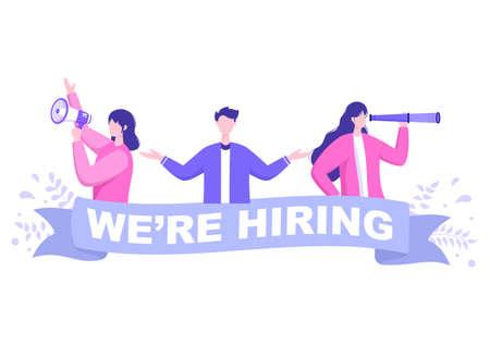 Job Hiring And Online Recruitment For web Landing Page, Banner, Background, Presentation Or Social Media. Vector Illustration Illustration
