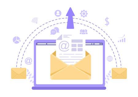 Email Marketing Vector Illustration For Design Digital, Campaign, Web Page, Business Presentation, Or Mobile Social Network Template