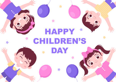 Happy Children's Day Celebration With Cartoon Character Illustration For Poster, Greeting Cards, Wallpaper Background, Banner, And Landing Page Illustration