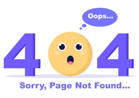404 Error And Page Not Found Vector Illustration. Lost Connect Problem, Warning Sign, Or Site Breakdown. Landing Page Template
