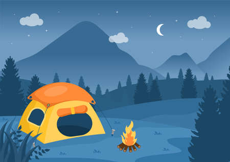 Happy Summer Camp in the Mountain for Expedition, Travel, Explore and Outdoor Recreation. Landscape Background Illustration