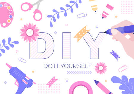 DIY Tools Do It Yourself Background Illustration For Home Renovation and Creative Projects. Using To Banner, Wallpaper or Landing Page Template