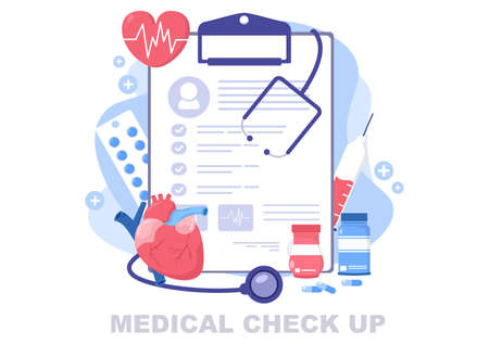 Medical Health Check up Background Landing Page Illustration. The Doctor Holds A Form Containing Patient Health List For Making Banner and Other