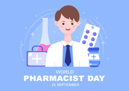World Pharmacists Day Which Is Held on September 25th. Doctor, Medicine and Pills Concept. For Background, Banner or Poster Landing Page Vector Illustration Vector Illustration
