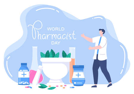 World Pharmacists Day Which Is Held on September 25th. Doctor, Medicine and Pills Concept. For Background, Banner or Poster Landing Page Vector Illustration