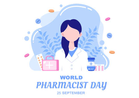 World Pharmacists Day Which Is Held on September 25th. Doctor, Medicine and Pills Concept. For Background, Banner or Poster Landing Page Vector Illustration Ilustración de vector