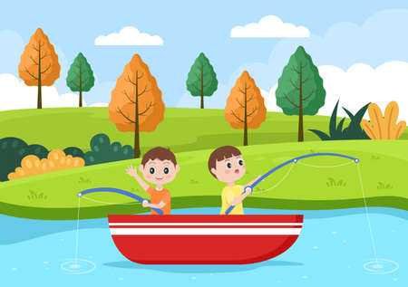 Children Fishing Fish By The River While Enjoying Quality Time At Summer Day With Hill Or Mountain View. Background Vector Illustration Ilustração Vetorial