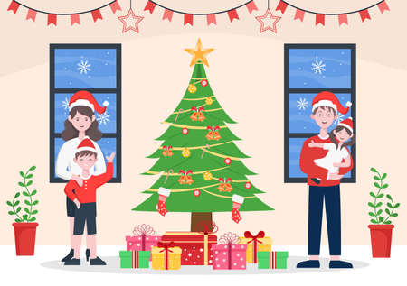 Happy Family is Getting Together On Christmas There Are Mothers, Fathers, Children In Living Room The Decoration Tree And Gift. Background Vector Illustration