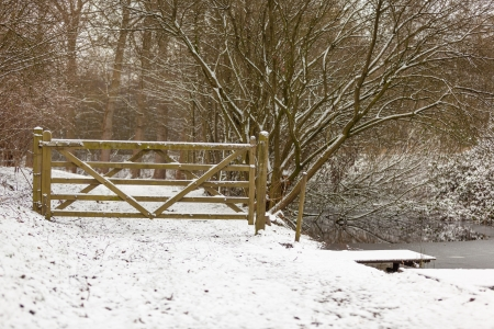snowlandscape: A closed gates on a winter day
