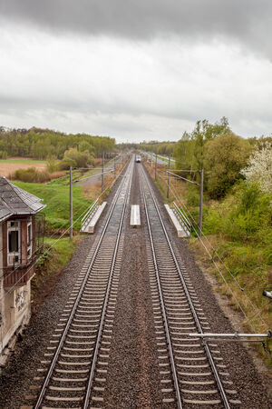 vanishing point: a railway whit an Vanishing point in the distance Stock Photo