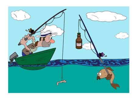 cartoon fishing: fisherman