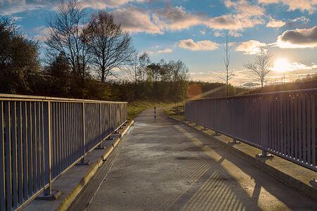 brige: bridge whit blue light over the river
