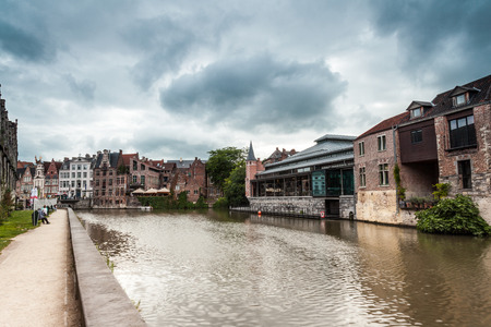 this old fish market stay in the hart of the city of Gent Banco de Imagens
