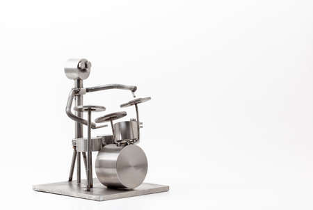 percussionist: Stainless steel drummer isolated in white  Stock Photo