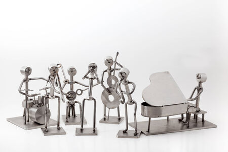 percussionist: on white you have and stainless steel Jazz Band